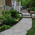 Irregular Bluestone Walk with Antique Granite Steps