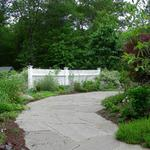Broken bluestone walk creates informal path to back yard sunroom