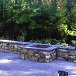 New England Fieldstone Wall with Bluestone Cap and Planter