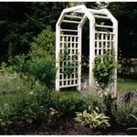 Honeysuckle and Clematis adorn custom built arbor