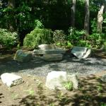 Natural boulder sitting area along